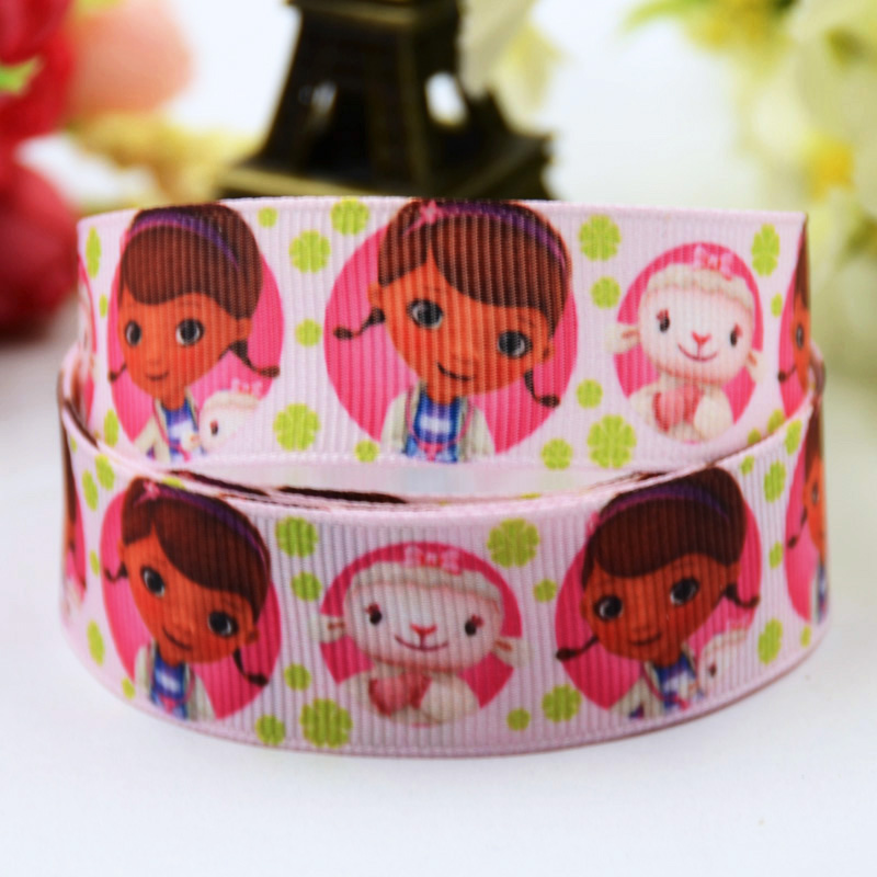 7/8 (22mm) Doc McStuffins Cartoon Character printed Grosgrain Ribbon satin ribbons Party decoration OEM X-00383 10 Yards