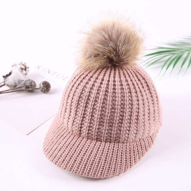 dc43d90acd6 Autumn Winter Baseball Caps For Baby Boys Girls Fake Fur Pom Poms Knitted  Hat Casual Solid Color Bone Feminino