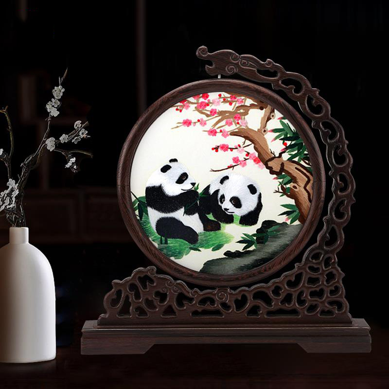 Chinese Wind Gifts Chinese Panda Gifts Suzhou Embroidery Two-sided Embroidery Screen Crafts(China)