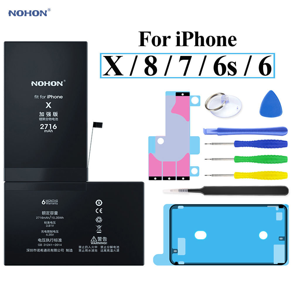Nohon Battery For iPhone X 8 7 6s 6 iPhoneX iPhone8 iPhone7 iPhone6 6GS Li-polymer Batteries For Apple iPhone 6 6s 7 8 x Battery image