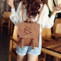 2017 Women Fashion Korean Tassel Vintage Elegant Backpacks Lady Bag Female Backpacks Travel Bag Backpacks For