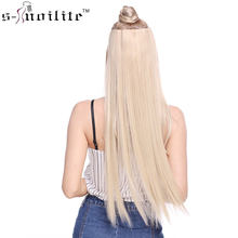 SNOILITE 23-26inch Long Straight Women Clip in one piece Hair Extensions synthetic Black Brown clip ins fake hair piece(China)