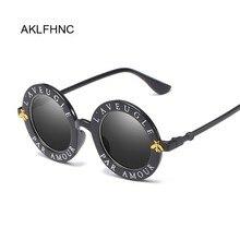 Retro Sexy Black Round Sunglasses Women Brand Designer Engli