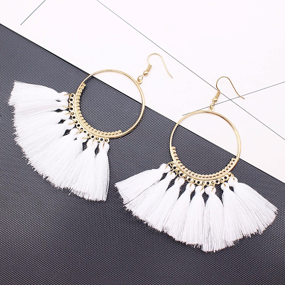 19 Colors round dangling pendant Drop earrings woman fabric tassel earring ethnic bohemian fantasy fringed boucles d'oreille 8