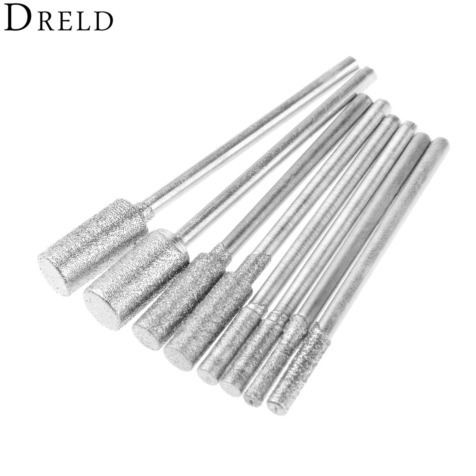 DRELD 8Pcs/set Diamond Cutting Grinding Head Mounted Points Bit 2.35mm Shank Jade Stone Carving Polishing For Dremel Rotary Tool