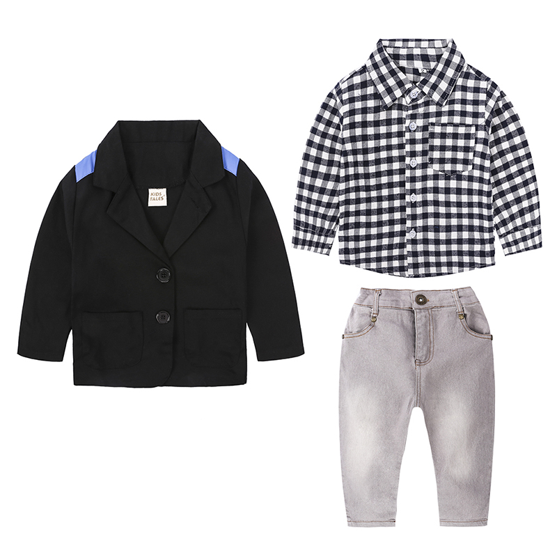 spring autumn costume for boy children clothing kids gentlemen suit Long sleeve coat+shirt plaid+jeans clothes set