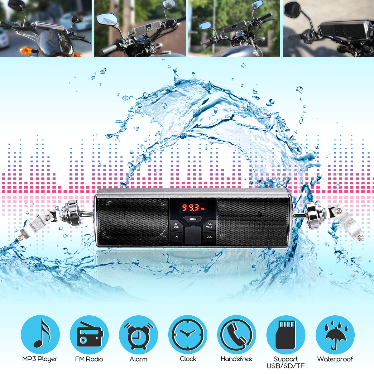 Universal Bluetooth Motorcycle MP3 Music LED Player Speakers Motorbike Bluetooth Stereo Speaker FM Radio Waterproof Audio Player mtsooning motorcycle mp3 player atv audio music system support usb 12v motorbike fm radio with speakers motorcycle music player