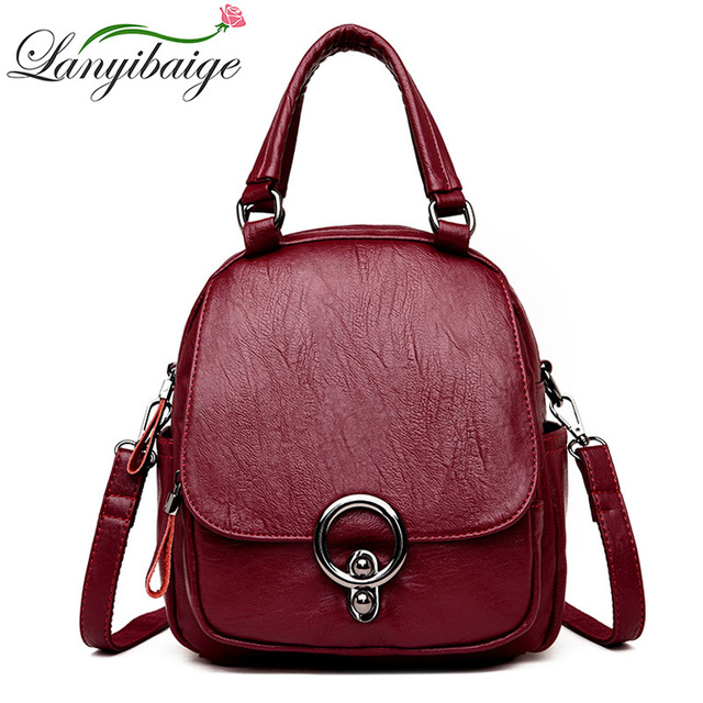 LANYIBAIGE Fashion Female Backpack Brands Leather Woman Shoulder Bags High  Quality Girl School Bag 2018 Travel Backpack Mochila 0f67b673a5f13