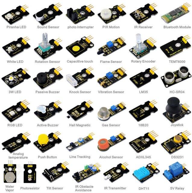 Novo! 37 em 1 kit de sensor para arduino starters keyestudio com 37 projeto pdf