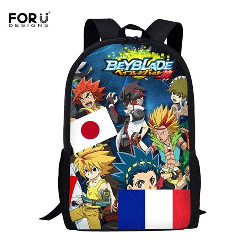 FORUDESIGNS Anime Beyblade ráfaga de la evolución de la escuela japonesa bolsas para niños niñas niños de la escuela bolso mochila