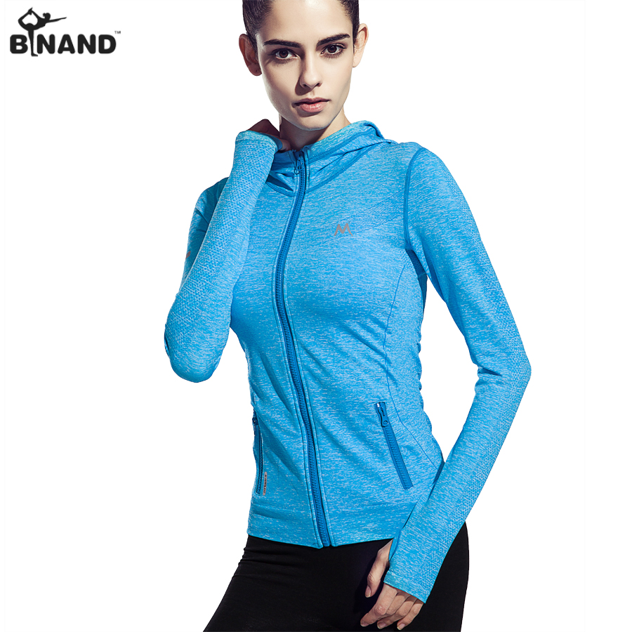 Prix pour BINAND Femmes de Sport À Capuche Manches Pleine Veste Gym Sport Workout Seamless Réfléchissante Vêtements Fitness Sweat Haut de Remise En Forme
