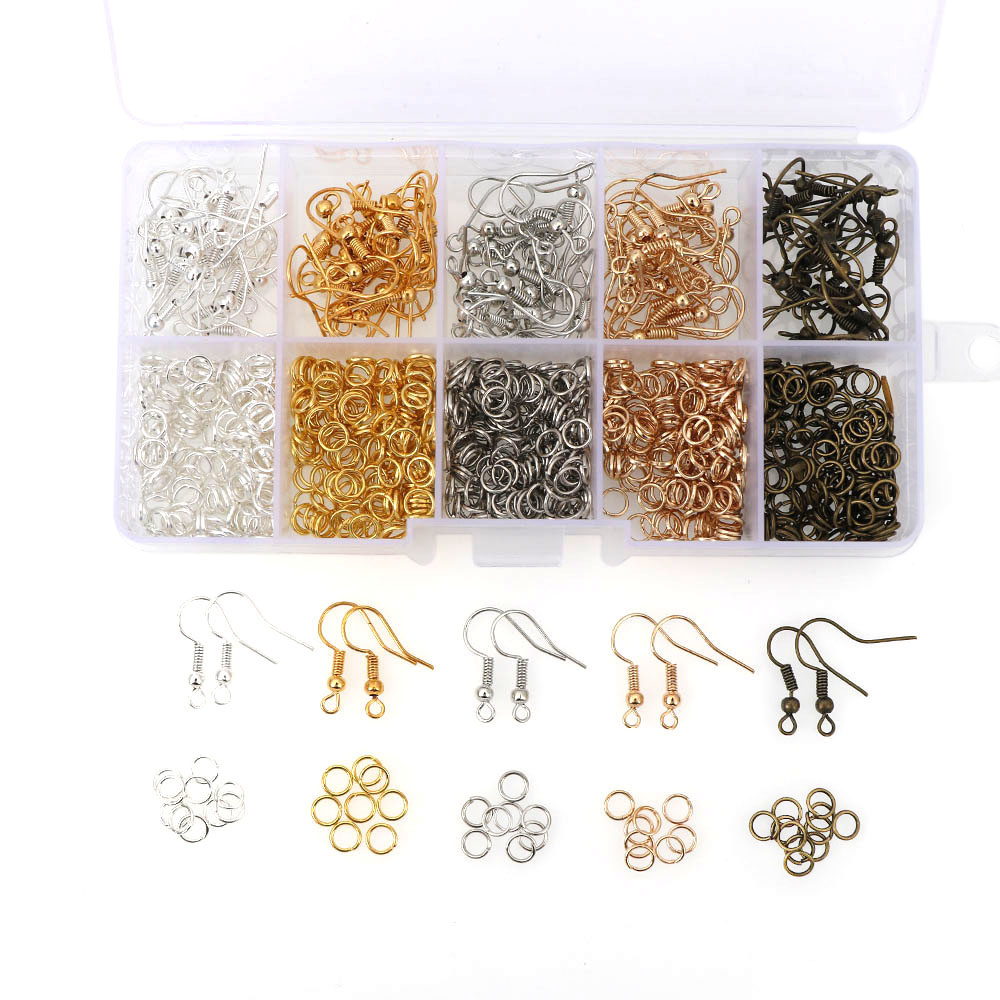 1Box 5color Gold Silver White K KC Gold Ancient Green Metal Earring Hook/Jump Rings Diy Earring Backs Jewelry Findings