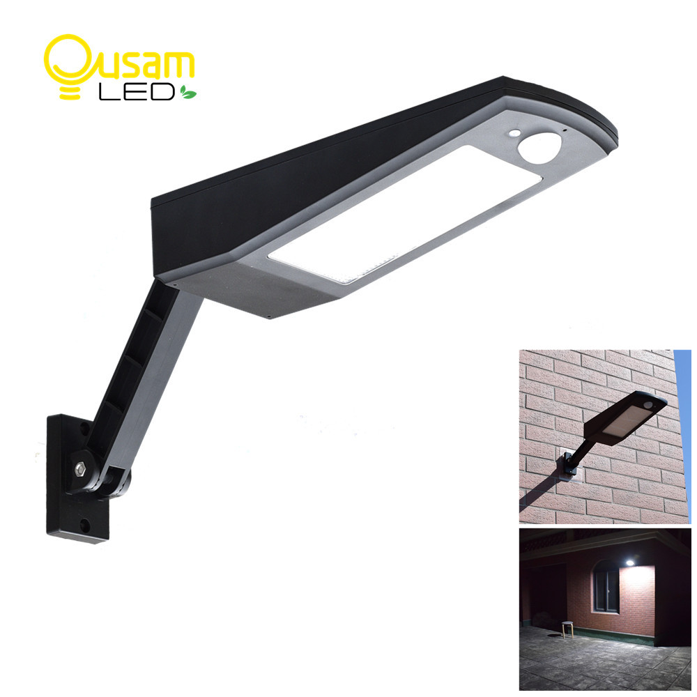 48LED 900LM Solar LED Light Wall Lamp PIR Sensor Motion 4 Modes Emergency Light With Adjustable Pole For Garden Outdoor Lighting outdoor led garden light security 90 led solar light pir motion sensor solar powered emergency wall lamp waterproof ip65