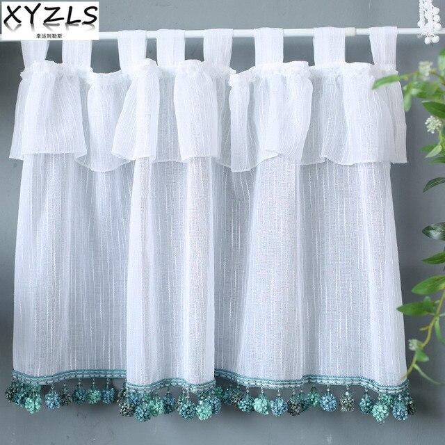 XYZLS Mediterranean Style Solid White Kitchen Curtains