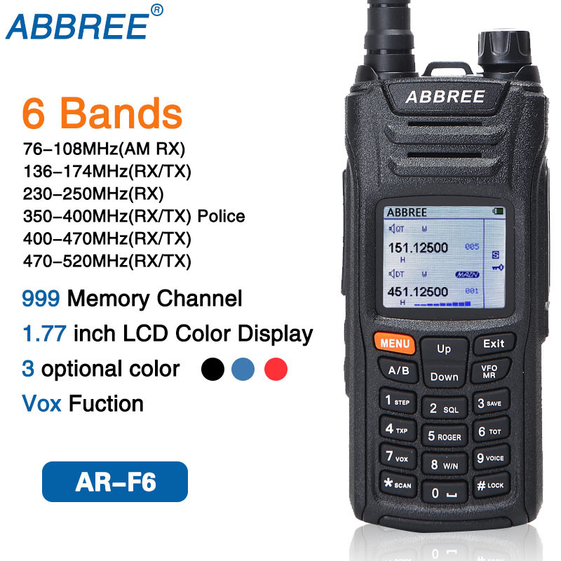 ABBREE AR F6 6 Bands Display Standby 999CH Multi functional VOX DTMF SOS LCD Color Display