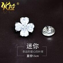 AMOR Trébol de la Suerte de Mini Collar Pin Insignia Broche blusa anti-fugas ornamento accesorios moda