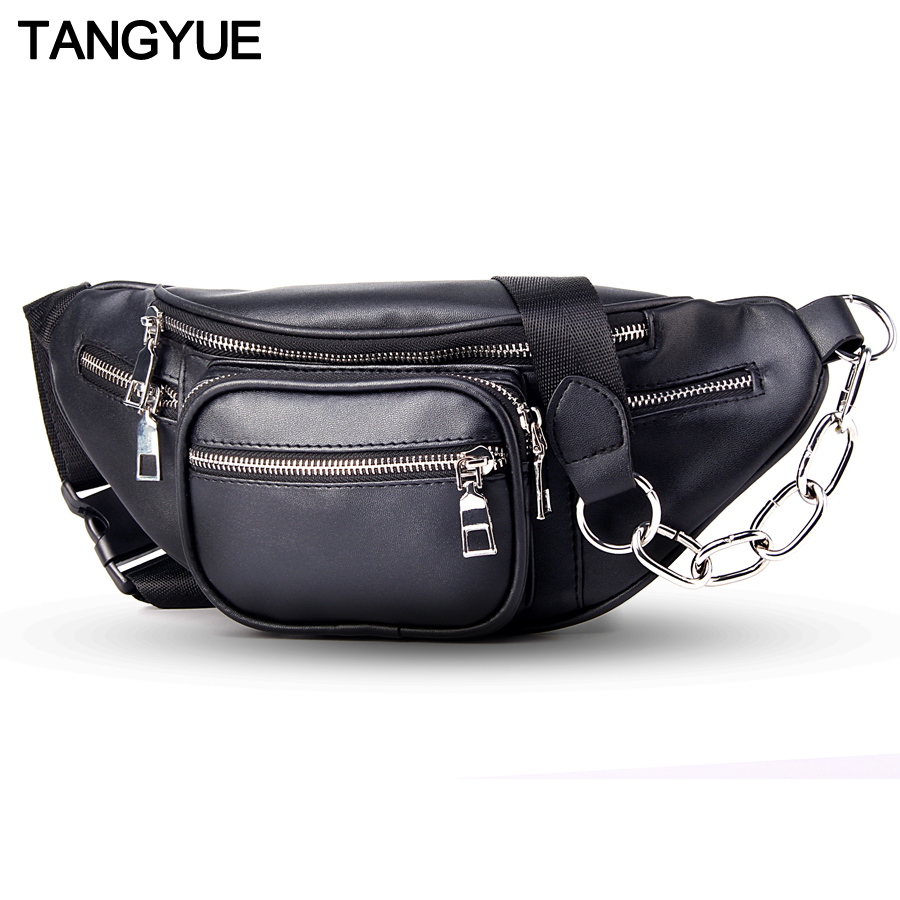 TANGYUE Chain Waist Bag Belt Women Fanny Pack Leather Black 2018 Travel Bum Waist Bag Ladies for to Belt Fanny Pack for Women dancer feather faux pearl waist belt chain
