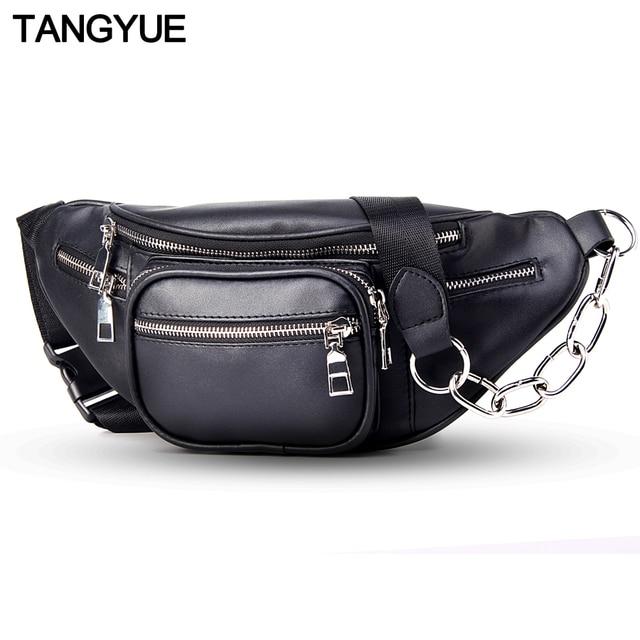 TANGYUE Chain Waist Bag Belt Women Fanny Pack Leather Black 2018 Travel Bum Waist Bag Ladies for to Belt Fanny Pack for Women