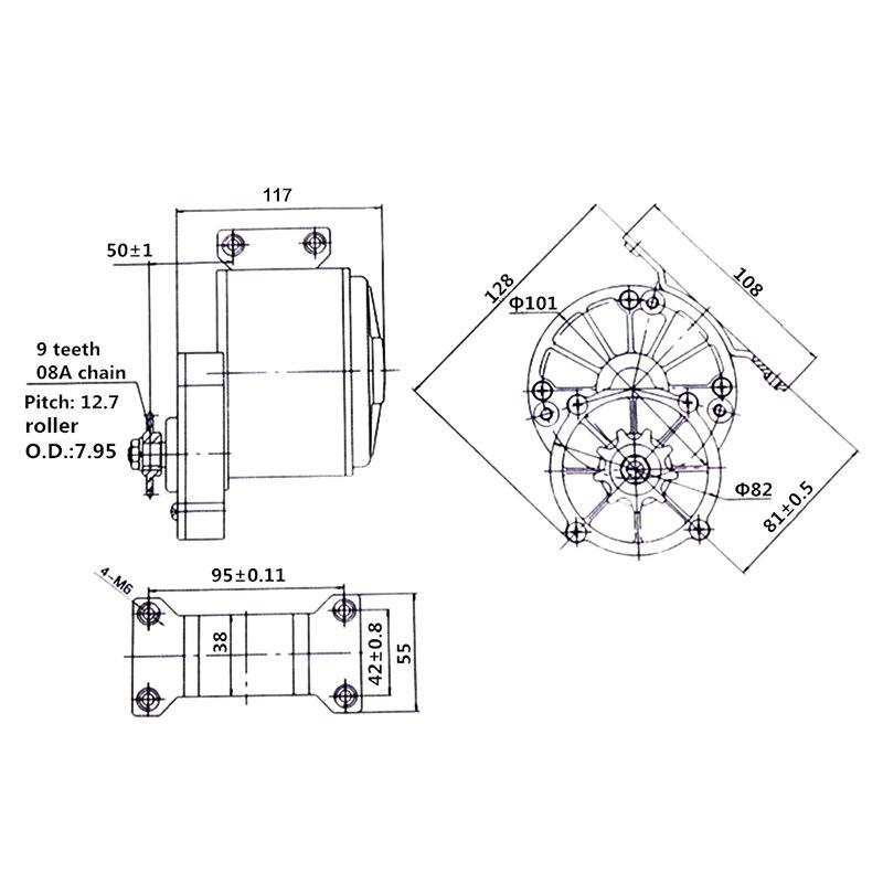 MY1016Z3 350W 24 V/36 V DC Pinsel Motor Elektrische Dreirad Getriebe Motor E Bike Roller Motorrad DC getriebe Motor - 5