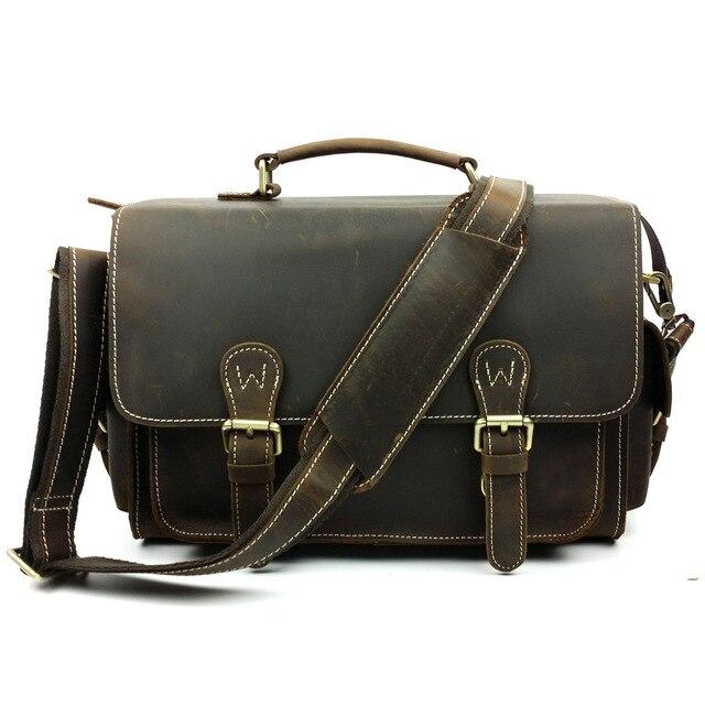 crazy horse SLR camera bags fashion tote shoulder messenger bag real leather