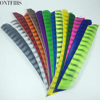 ONTFIHS Archery Fletching Arrow Feathers Multicolor Double Sided Striped Full length Turkey Feather Fletches DIY - 50PCS