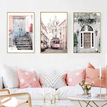 Nordic Landscape Poster Prints Canvas Art Pink House Building Wall Painting Pictures For Living Room Unframed