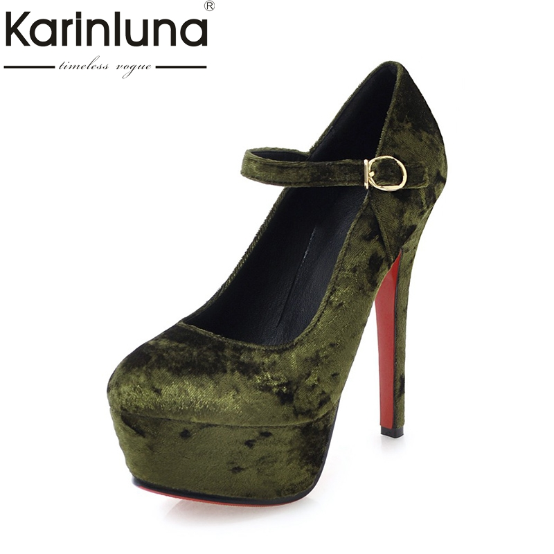 KarinLuna 2018 Velvet Big Size 32-43 Spring Platform Party Shoes Women Sexy Thin High Heels Wedding Pumps Shoes new sexy thin high heels shoes women pumps 2018 spring round toe platform single shoes women wedding party big size 34 45 27 5cm