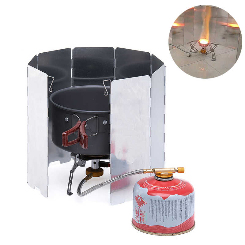 Outdoor Barbecue Grill Foldable Wind Screen Picnic Burner Windshield Cooking Gas Strove WindScreen Camping BBQ Tools Campfire