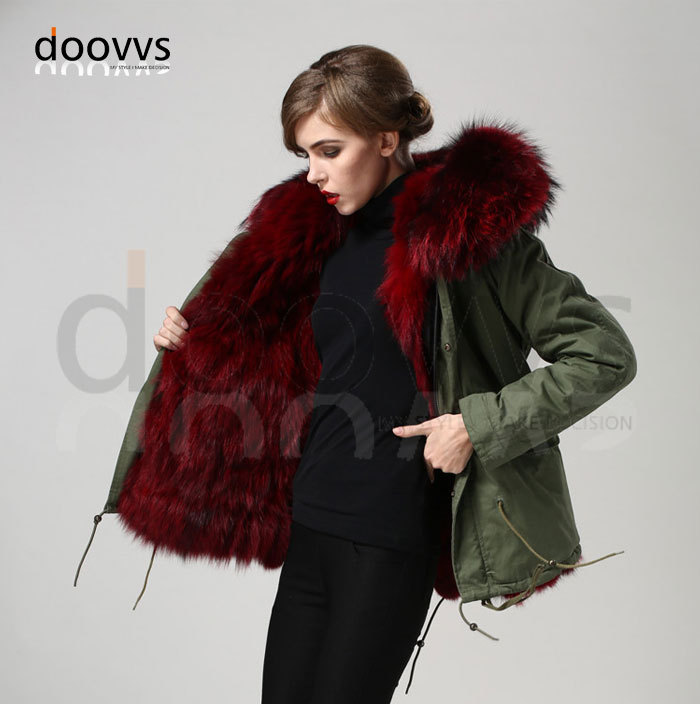 wine red real fox fur collar coat,real fox liner Mrs furs parka,plus size real fur coat free shipping