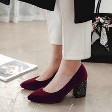 velour velet classic woman pumps shoes green burgundy stilet