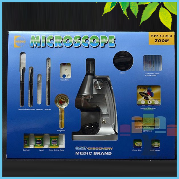 1200X Student Kids Educational Toy Biological Microscope Kit Children Beginner Microscope Set w/ Mirror Lamp Birthday Gift biological science student microscope amscope supplies 800x biological science student microscope prepared