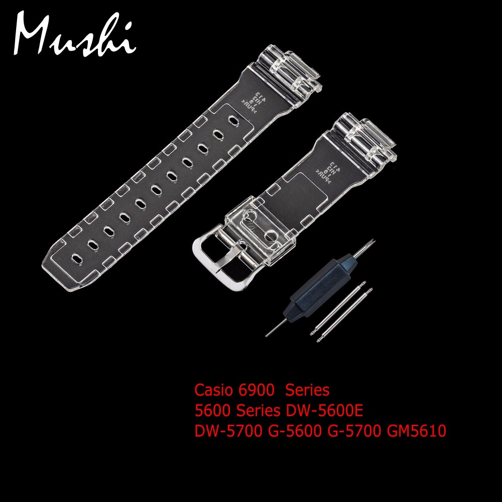 Watch Strap for Casio 6900 Series 5600 Series <font><b>DW</b></font>-<font><b>5600E</b></font> <font><b>DW</b></font>-5700 Men Transparent Sport Watchband Pin Buckle Watch Band with Tool image