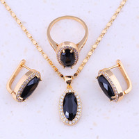 Charismatic Black Created Sapphire Cubic Zircon Yellow Gold Plated Fashion Jewelry Sets For Women Party Trendy