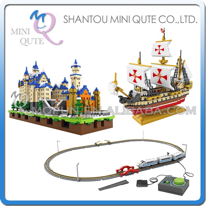 Mini Qute LOZ world architecture war ship Santa Maria Electronic high-speed rail Train plastic building blocks educational toy loz world famous classic architecture assembe mini building blocks educational model toys birthday gift for child eiffel tower