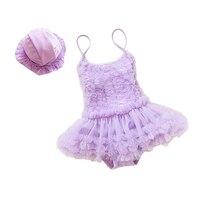 Baby Girls Dress Swimming Trunk Lace Lovely Baby Girl Swimwear Hat Children Fashion Swimming Suit Summer