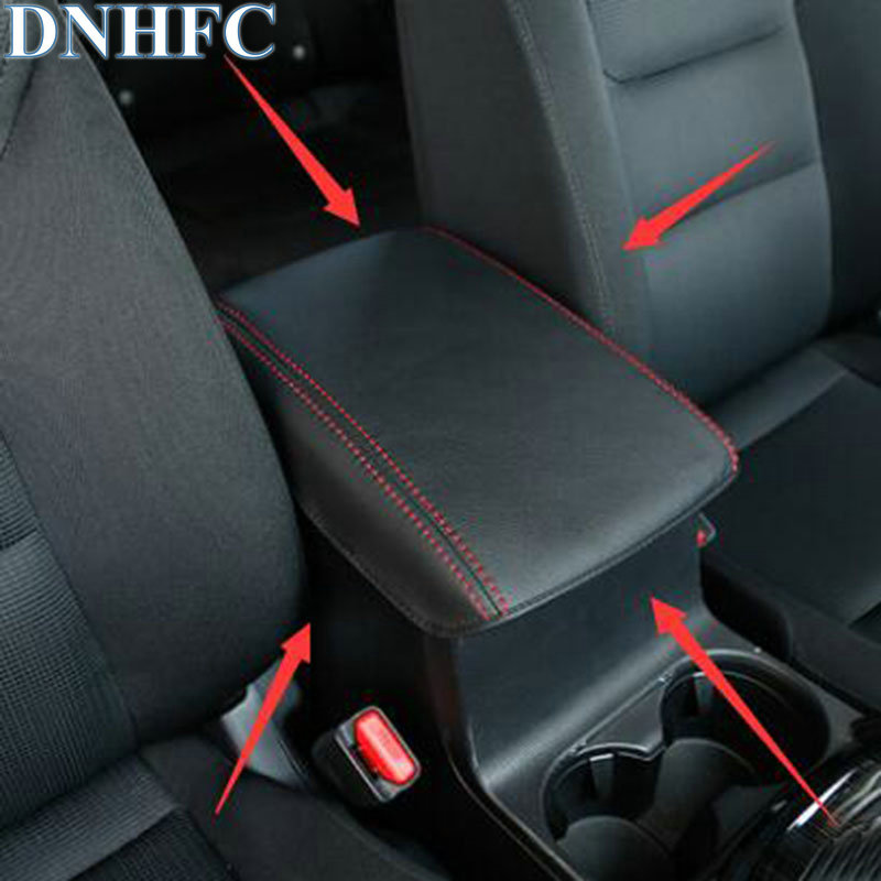 DNHFC Car armrest box holster Artificial Leather 2 color fit For MAZDA CX-5 CX5 KF 2nd Generation 2017 2018 Car Styling for mazda cx 5 cx5 2017 2018 2nd gen lhd auto at gear panel stainless steel decoration car covers car stickers car styling