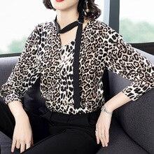 Новинка, весенние женские модные сексуальные Блузы с v-образным вырезом, с длинным рукавом, леопардовые шифоновые блузки, женские повседневные рубашки