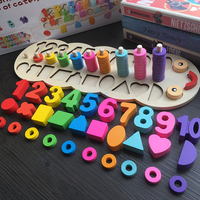 Children Wooden Montessori Materials Learning Toy Count Numbers Matching Digital Shape Match Early Education Teaching Math Toys