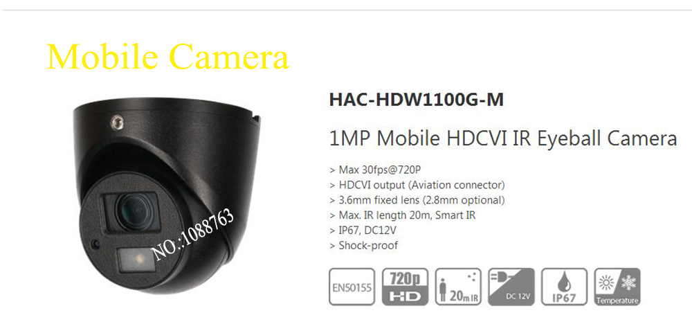 Free Shipping DAHUA CCTV Camera 1MP Mobile HDCVI IR Eyeball Camera without Logo HAC-HDW1100G-M