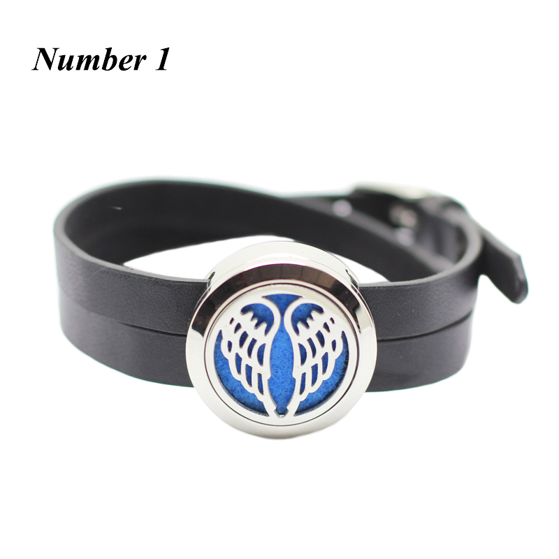 25MM Magnet Silver Leather Bracelet for Women Stainless Steel Aromatherapy Essential oil Diffuser Bracelets(free with 5pcs pads)