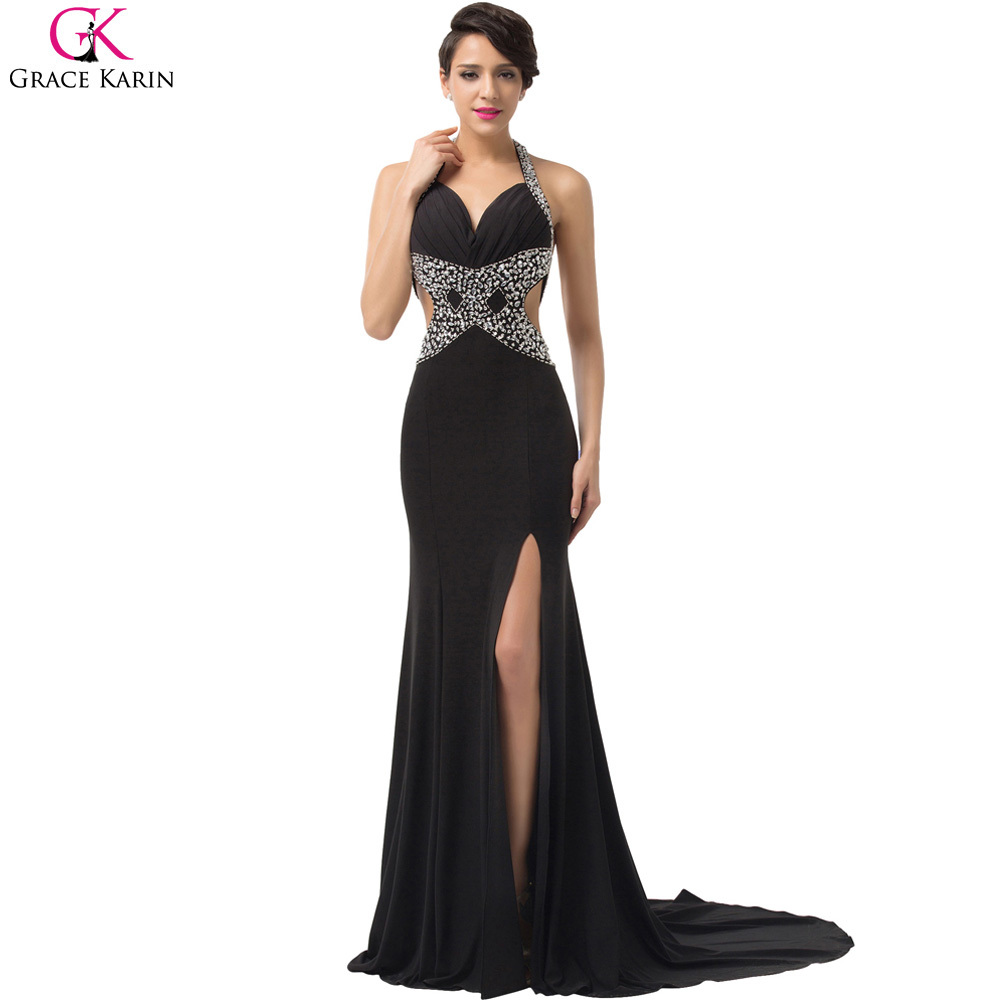 Sexy black evening dress grace karin sequin bead strapless for Sexy wedding reception dresses