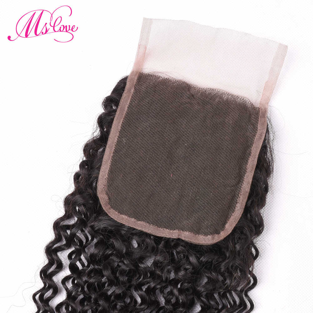 Ms Love Hair Malaysian Kinky Curly Human Hair Lace Closure 4x4 Free/Middle/Three Part Deep Curly Extension 1 Piece Natural Color