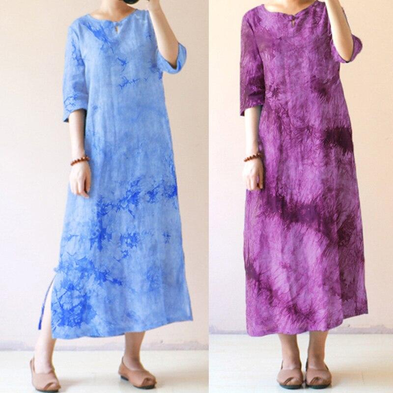 Celmia Women Vintage Long Maxi Dress Casual O Neck Half Sleeve Belted Split Loose Print Dresses Vintage Vestidos Plus Size M-4XL