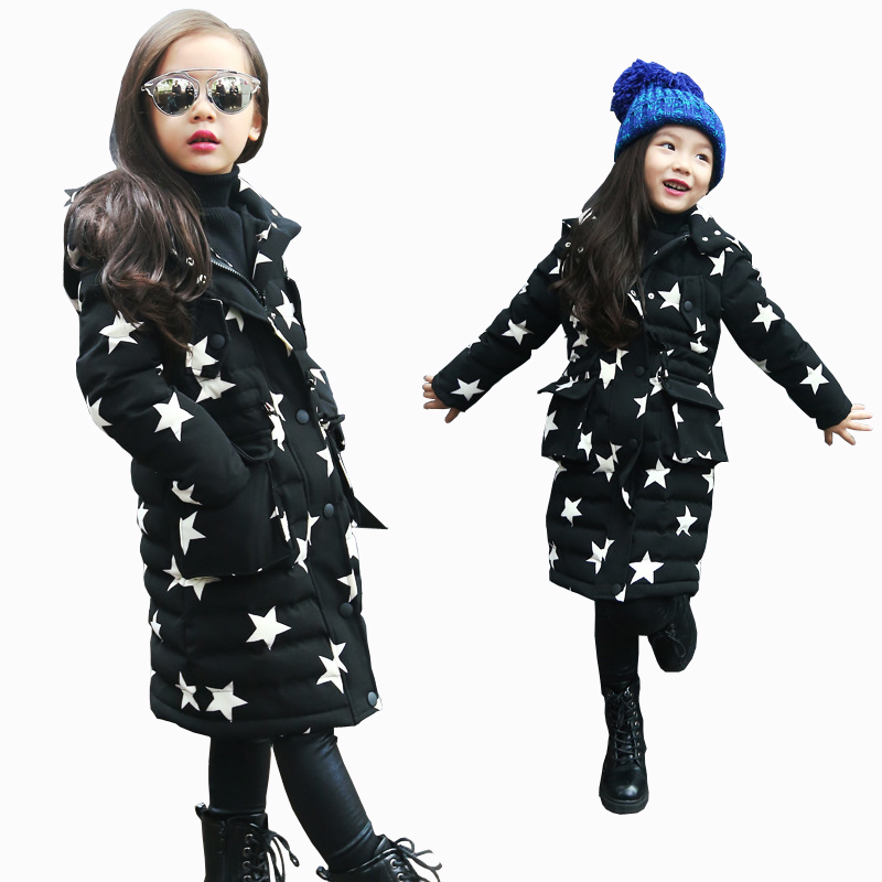 Baby Girls Warm Coats Star Pattern Fashion Girl Outerwear Kids Hooded Jacket 2017 Autumn Winter Cotton Coat Thick Warm Jacket children winter coats jacket baby boys warm outerwear thickening outdoors kids snow proof coat parkas cotton padded clothes