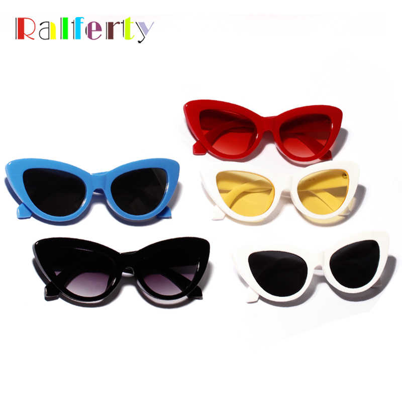 8153395a77 ... Ralferty 2018 Retro Cat Eye Sunglasses Women Blue Mirrored Acetate Sun  Glasses UV400 Vintage Sunnies Female ...