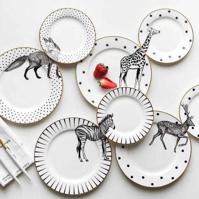 (2 шт. 6/8 дюймов) животных дизайн костяного фарфора плиты посуда набор керамика ужин салат тарелка зебра жираф волк Лось