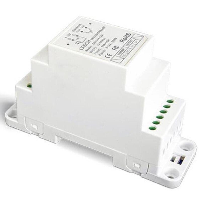 Livraison gratuite DIN-711-12A 1-10 V DIN rail LED numérique gradation pilote DC12V-24V entrée 12AX1CH Max 12A PWN LED pilote contrôleur