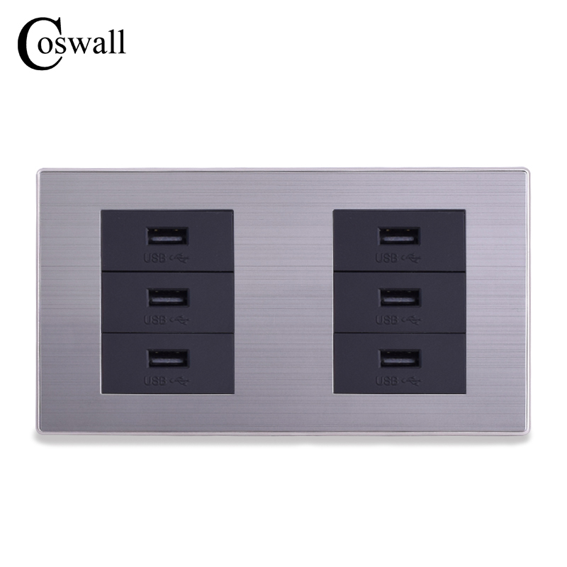 COSWALL Double Panel Wall Socket 6 Way USB Charge Port For Mobile 5V 2.1A Output Stainless Steel Brushed Frame coswall 3 usb fast charge port for mobile 5v 6a output in total luxury wall power socket stainless steel brushed silver panel