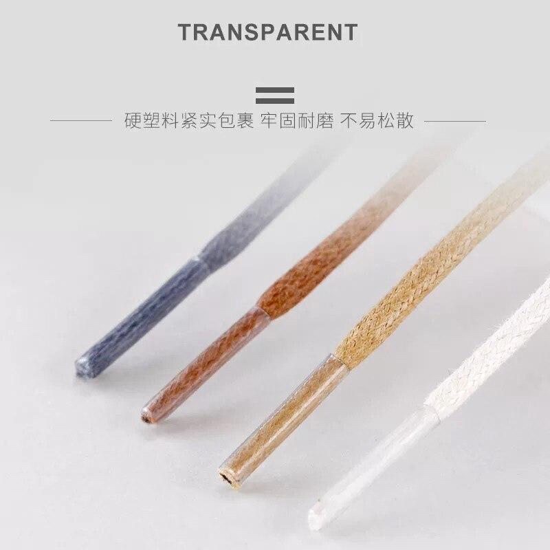 1Pair/ Waxed Cotton Round Shoelaces Leather Waterproof Shoe Laces Men Boots Shoe Lace Length 80/100/120/140CM P2