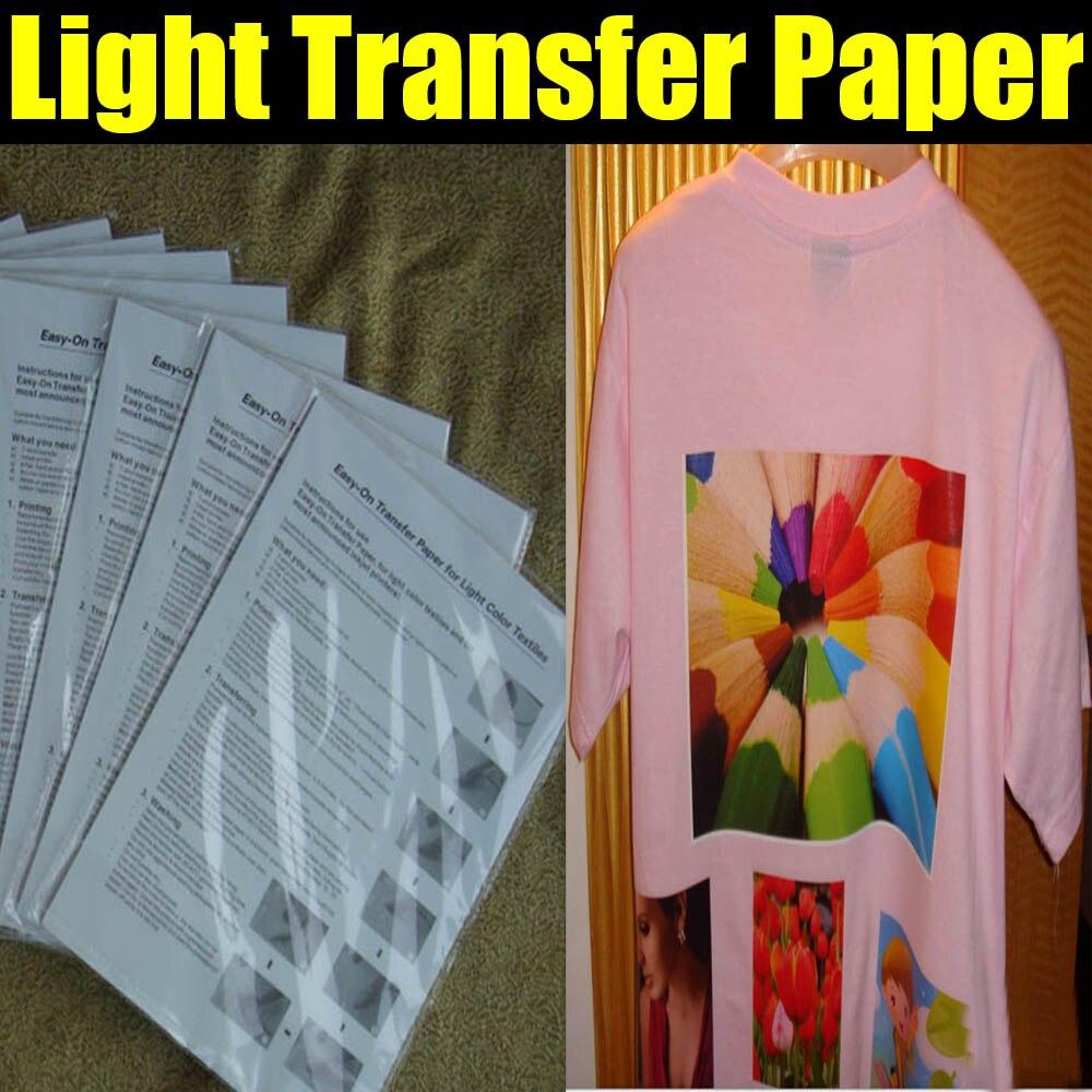 Carta di trasferimento per la luce camicie per la macchina della pressa di calore con trasporto libero 100 sheets/LotCarta di trasferimento per la luce camicie per la macchina della pressa di calore con trasporto libero 100 sheets/Lot